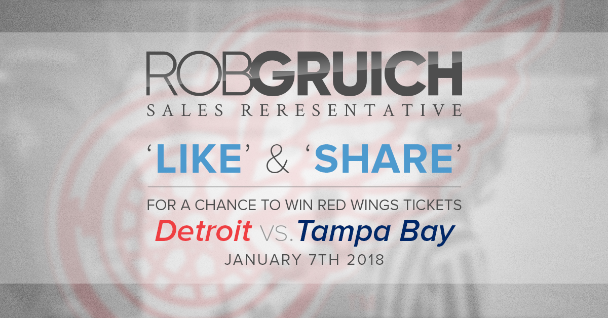 'LIKE' and 'SHARE' to WIN Two Tickets to the Red Wings vs. Tampa Bay
